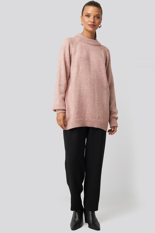 Raglan Sleeve Knitted Sweater Pink Outfit