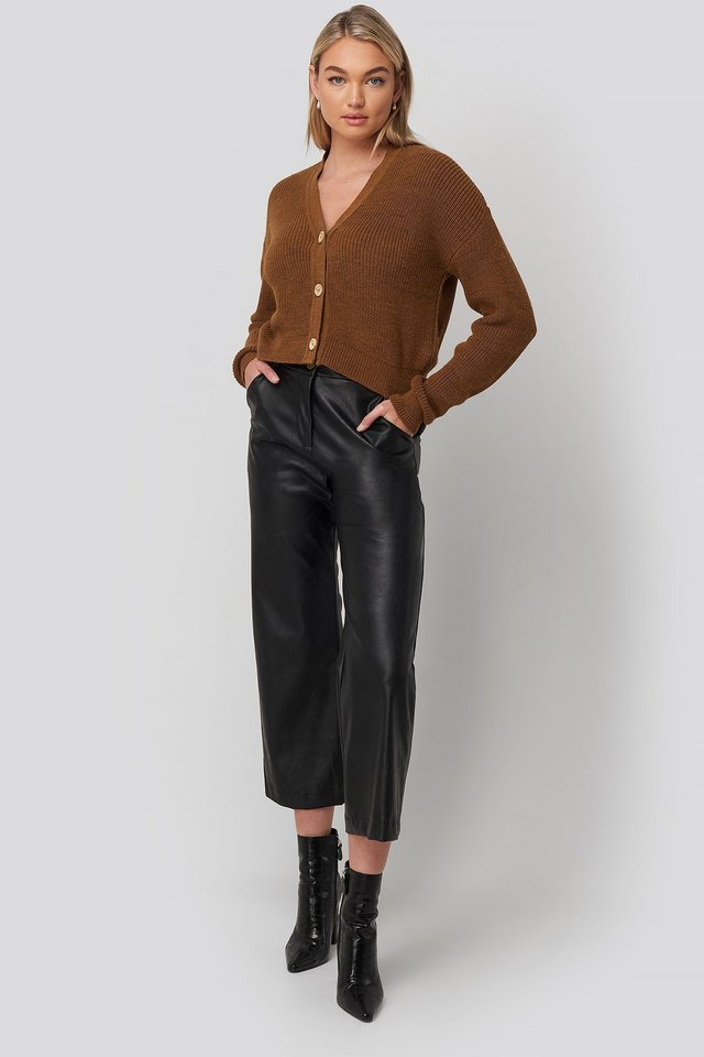Black Drawstring Pu Pants