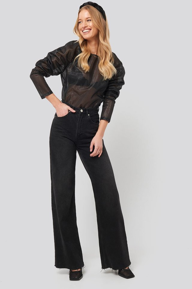 Sparkling Gathered Sleeve Blouse Black Outfit
