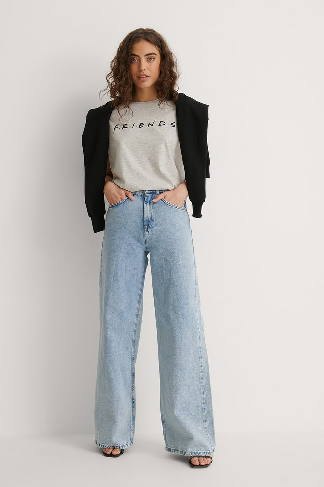 FRIENDS Print Raw Edge Tee Outfit