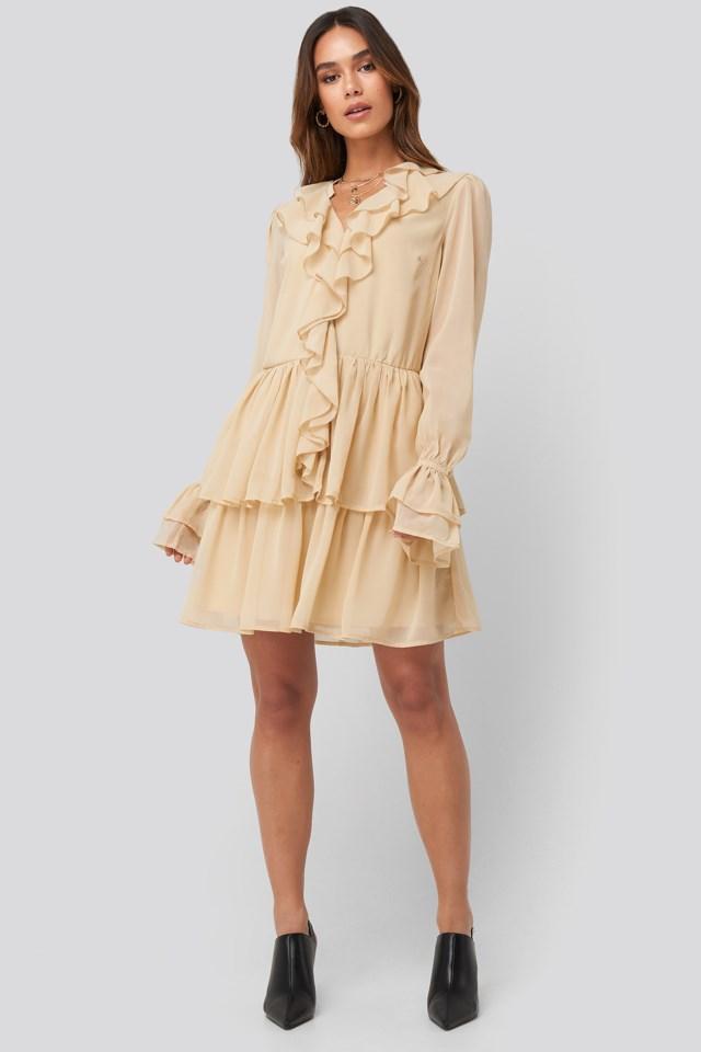 Chiffon Flounce Dress Outfit