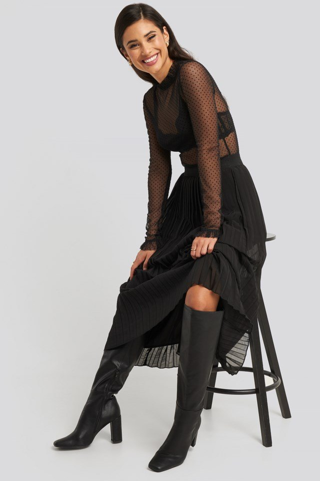 High Frill Neck Mesh Top Outfit