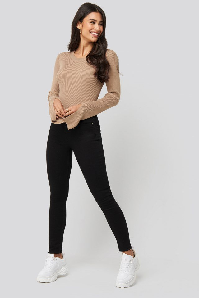 Sleeve Slit Rib Knitted Top Outfit