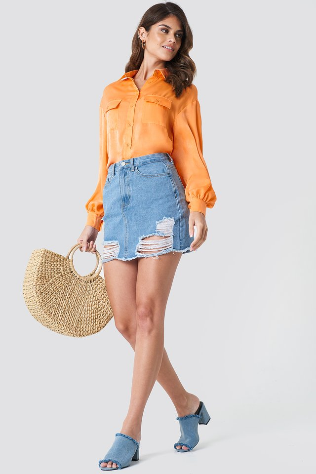 Bright Blouse with Denim Skirt