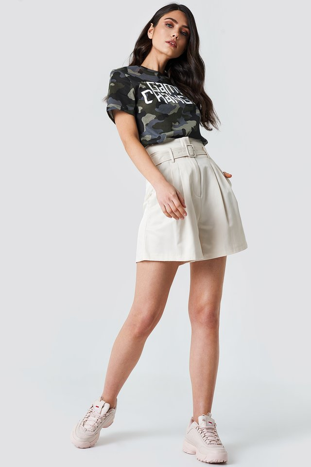 High Waist Belted Shorts with Army Tee