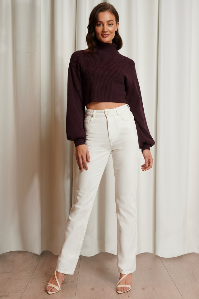 Balloon Sleeve Cropped Polo Sweater