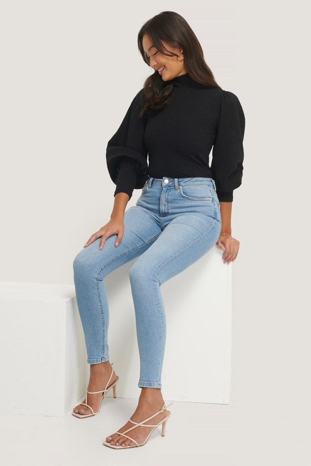Black High Neck Structured Jersey Top