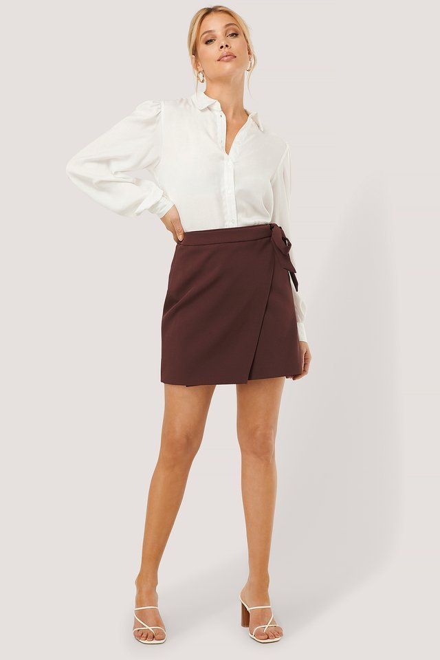 Overlap Tie Mini Skirt