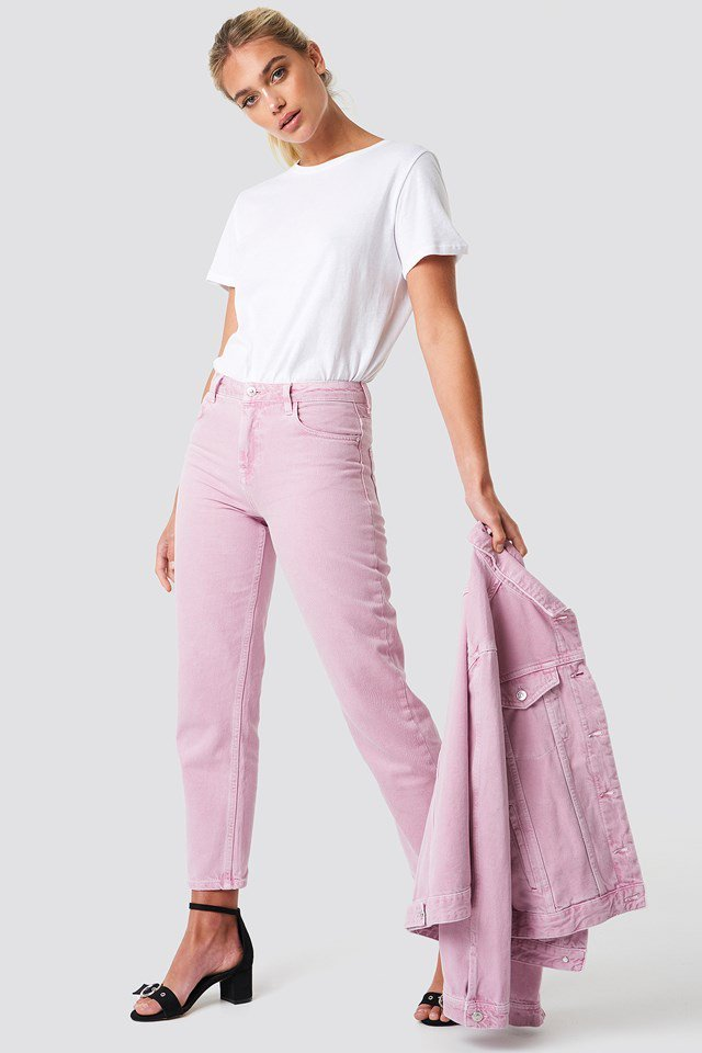 Pink Denim with Basic White T-shirt
