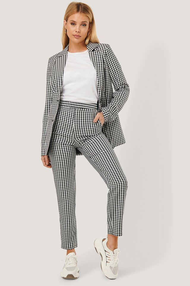 High Waist Checkered Suit Pants