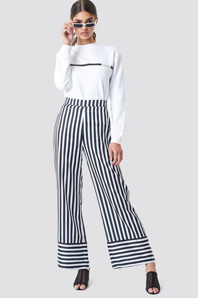 Sweater with Wide Leg Stripped Trouser