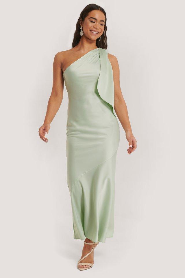 One Shoulder Satin Maxi Dress