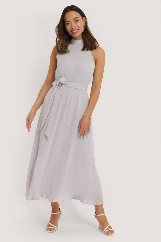 Halterneck Pleated Dress
