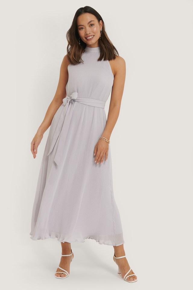 Halterneck Pleated Dress