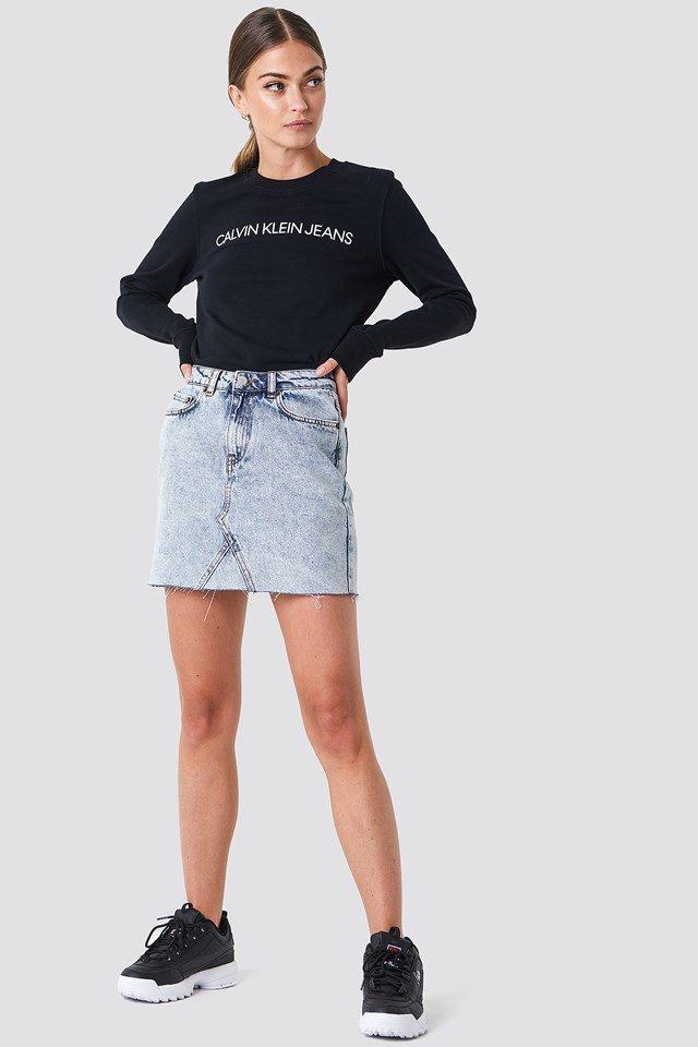Denim Skirt and Logo Sweatshirt