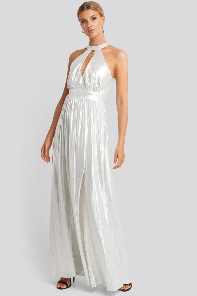 Silver Halter Neckline Evening Dress