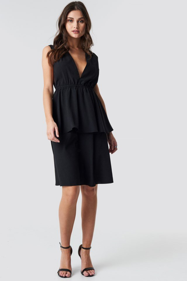Plunge V-Neck Flounce Dress
