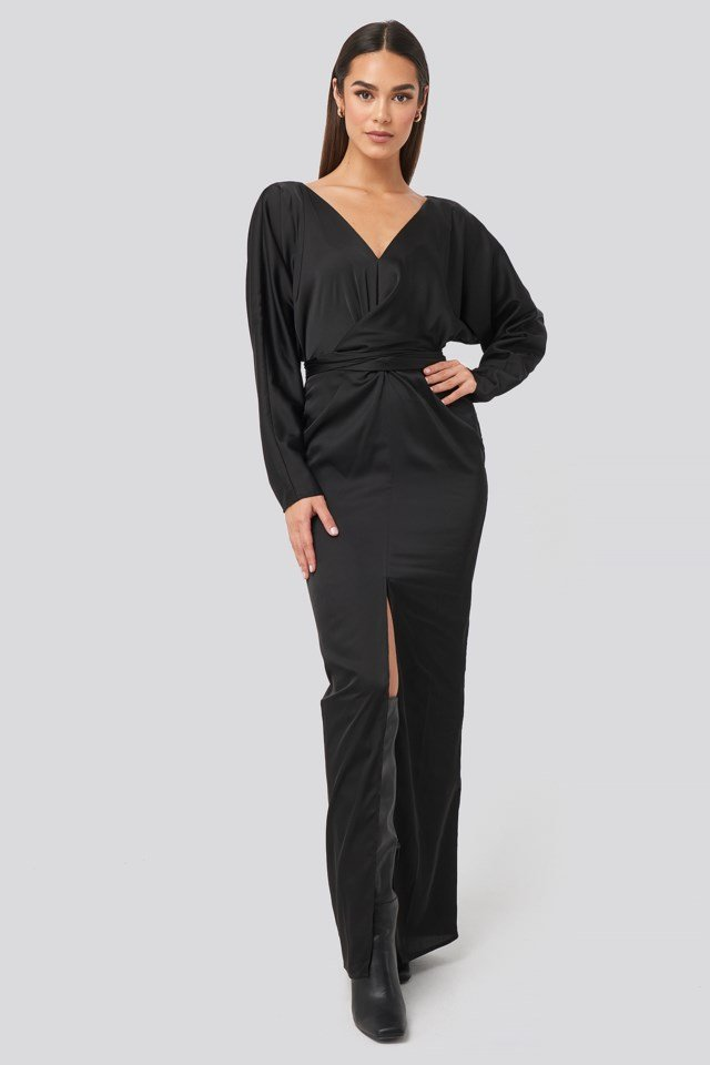 Belted Batwing Sleeve Maxi Dress