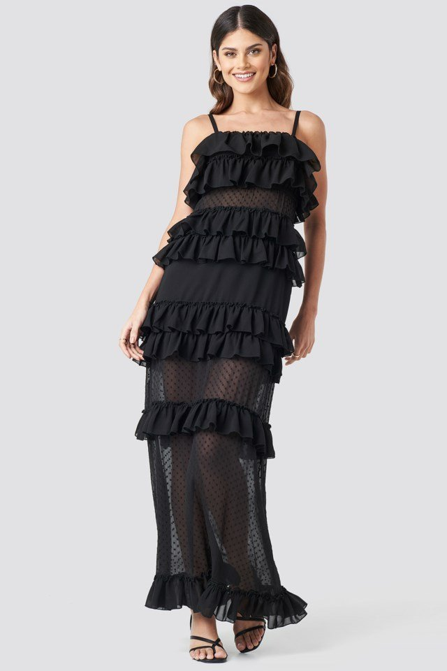 Sheer Ruffle Detail Maxi Dress