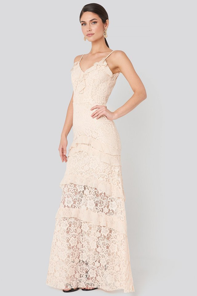 Frill Detail Lace Evening Dress