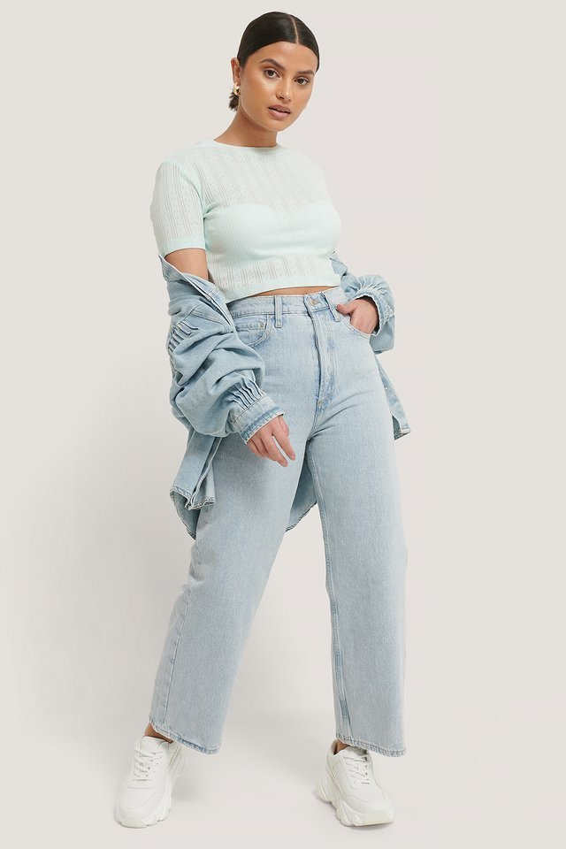 Structured Cropped Ribbed Tee