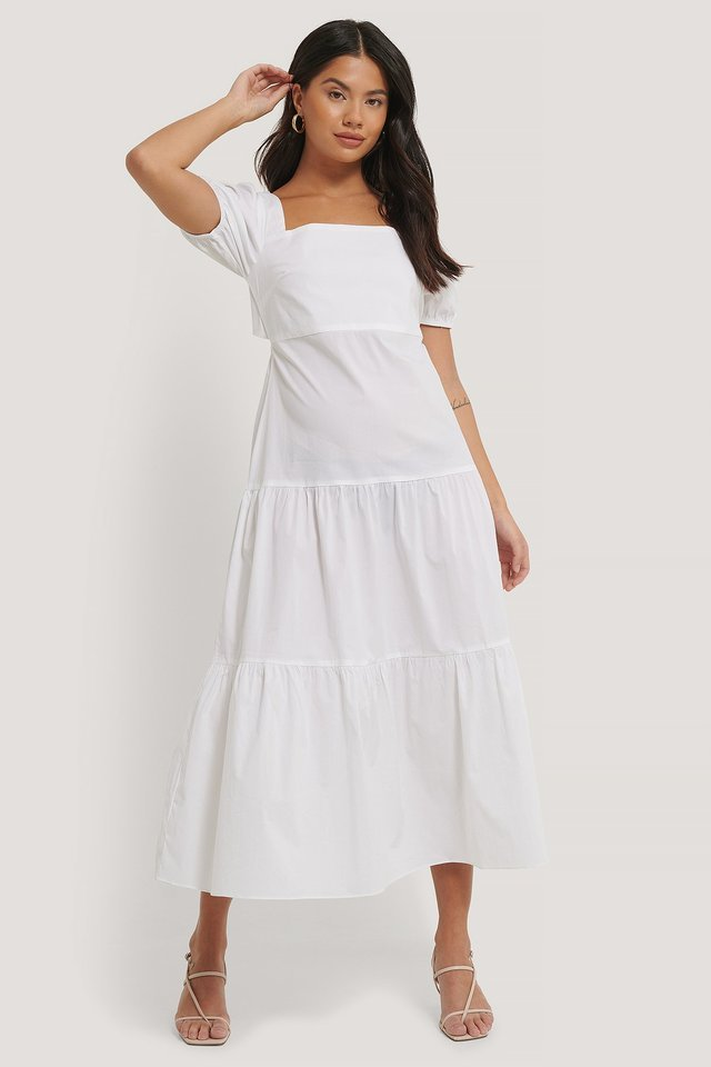 Tiered Puff Sleeve Tie Back Dress