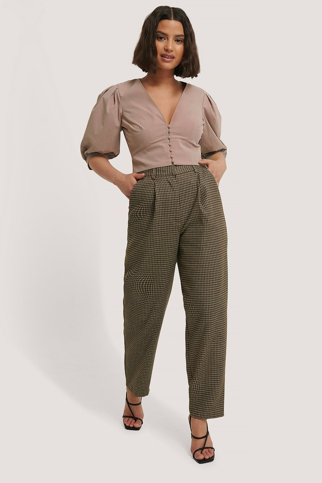 Pleat Balloon Checked Suit Pants