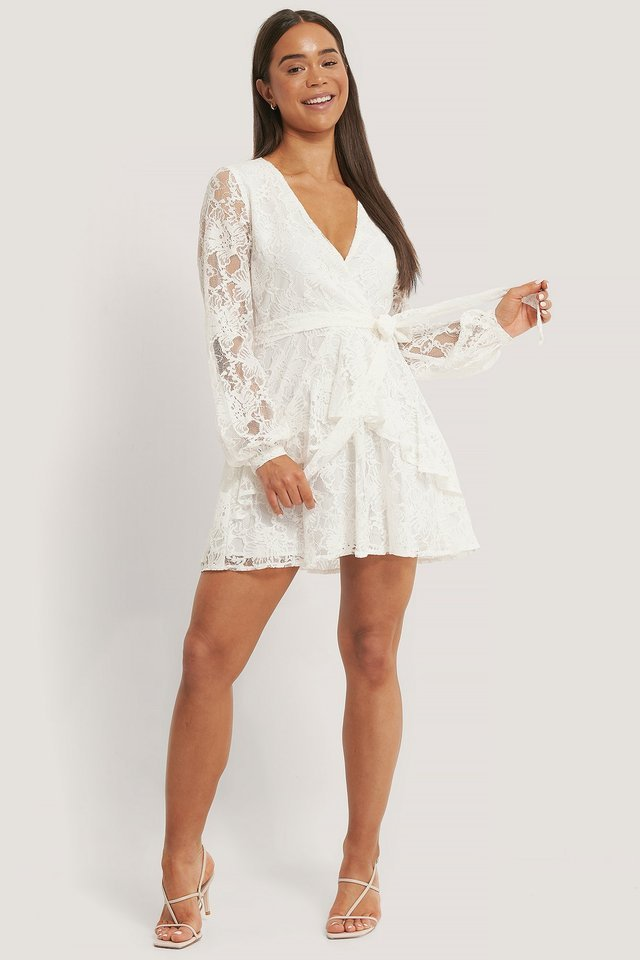 Lace Tie Frill Dress