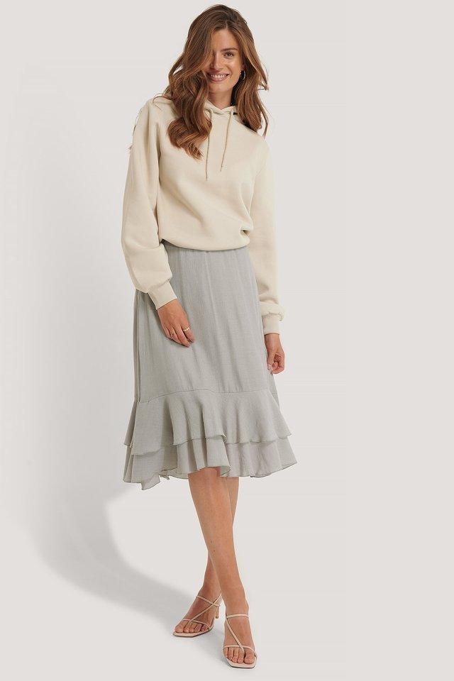 Structured Flounce Midi Skirt
