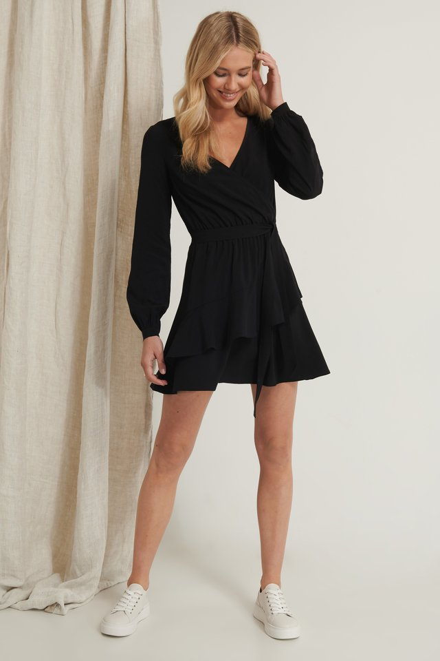 Overlapped Detail Frill Mini Dress