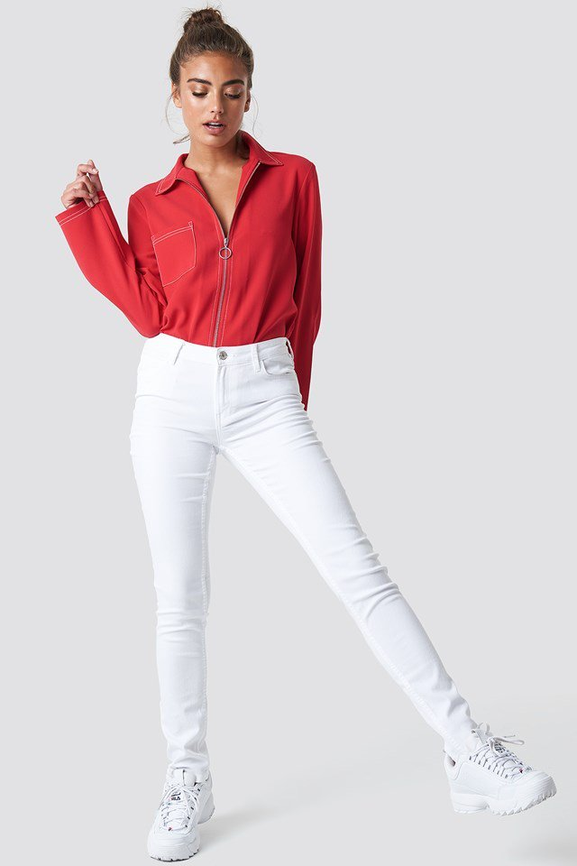 Mid-rise Waist White Jeans Outfit