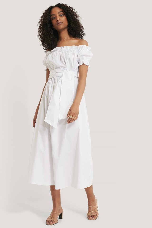 Bardot Tie Waist Midi Dress
