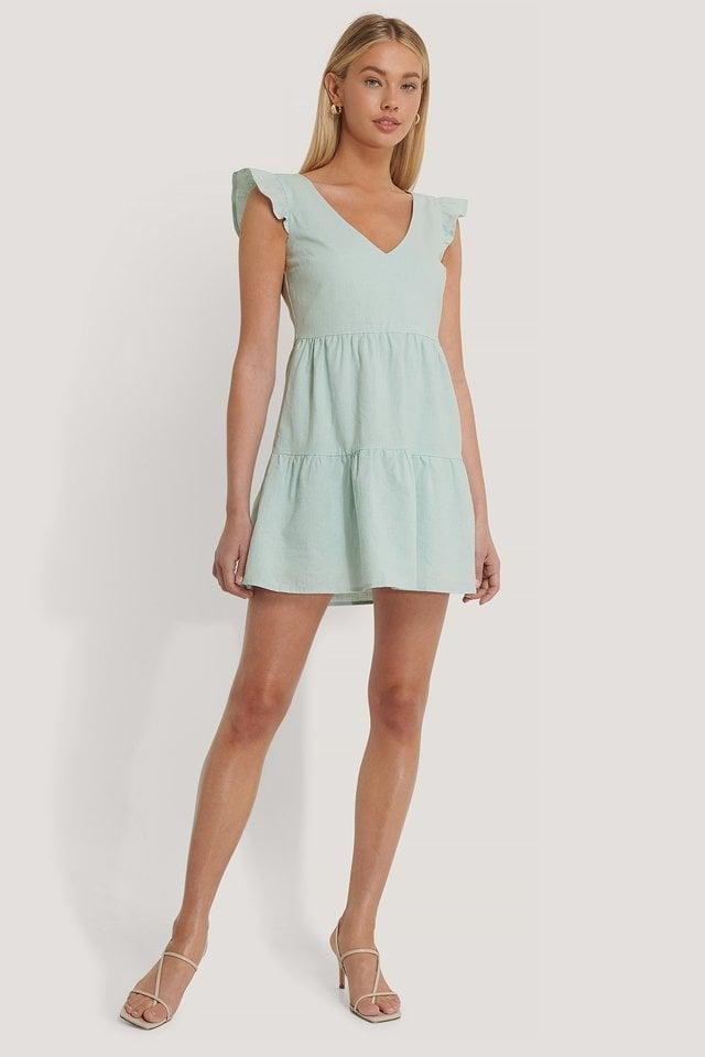 V-neck Flounce Mini Dress