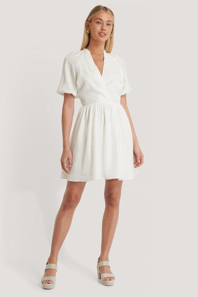 Volume Sleeve Short Dress