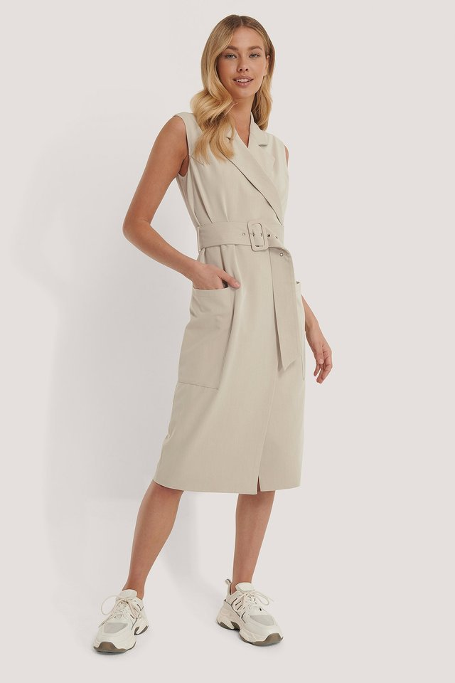 Belted Sleeveless Blazer Dress
