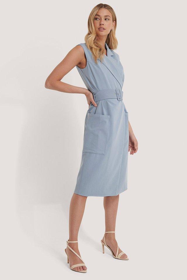 Belted Sleeveless Blazer Dress