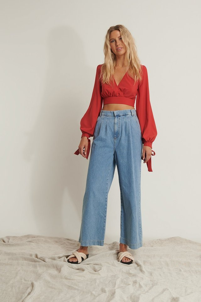 Balloon Sleeve Cropped Top