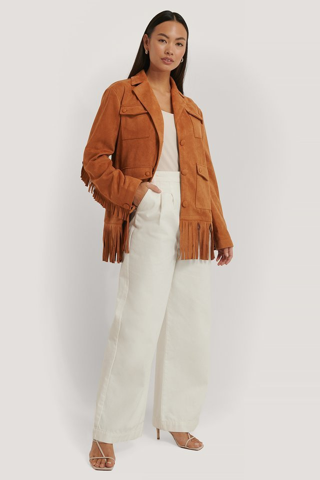 Frill Faux Suede Jacket