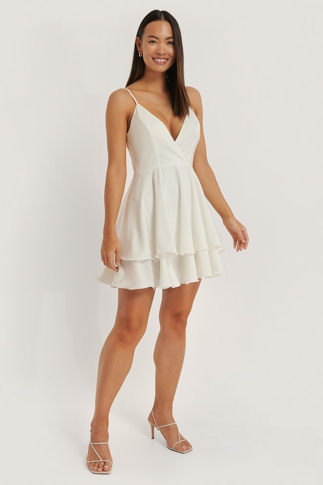 Overlap Deep Front Mini Dress