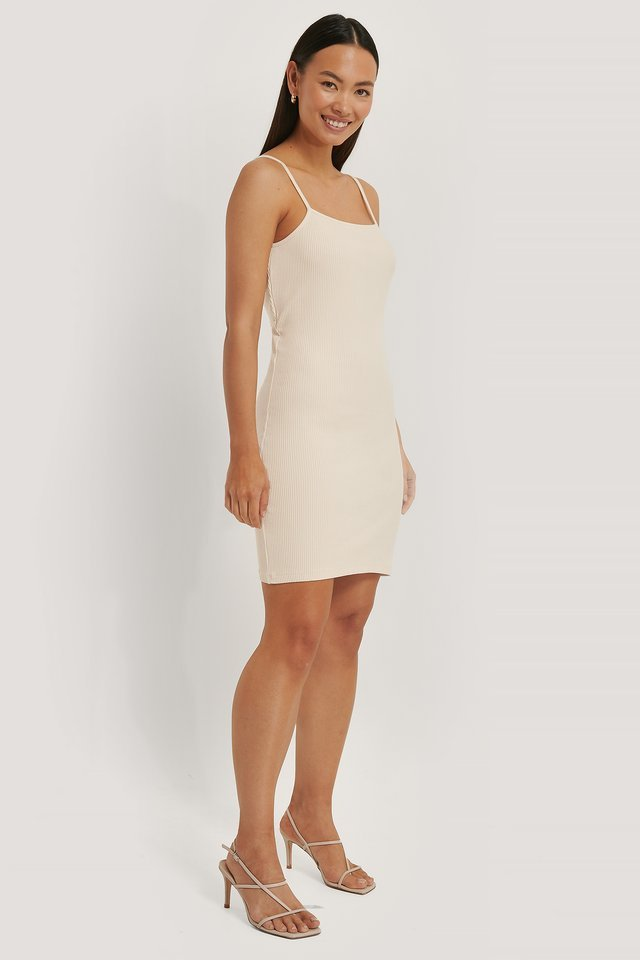 Ribbed Open Back Jersey Dress