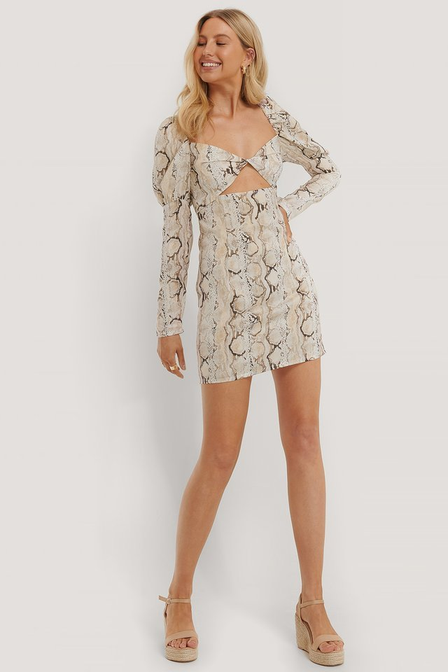 Puff Sleeve Snake Mini Dress