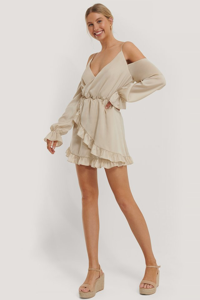 Slip Shoulders Flounce Mini Dress