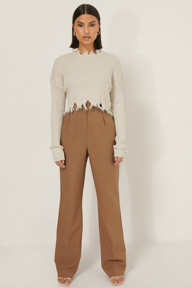Dropped Shoulder Cropped Sweater