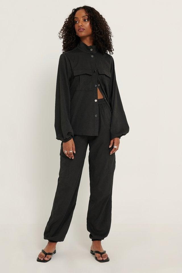 Black Big Pocket Pants