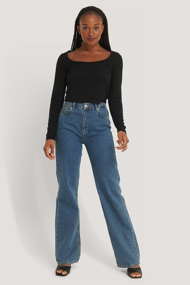Ribbed Long Sleeve Cropped Top Outfit