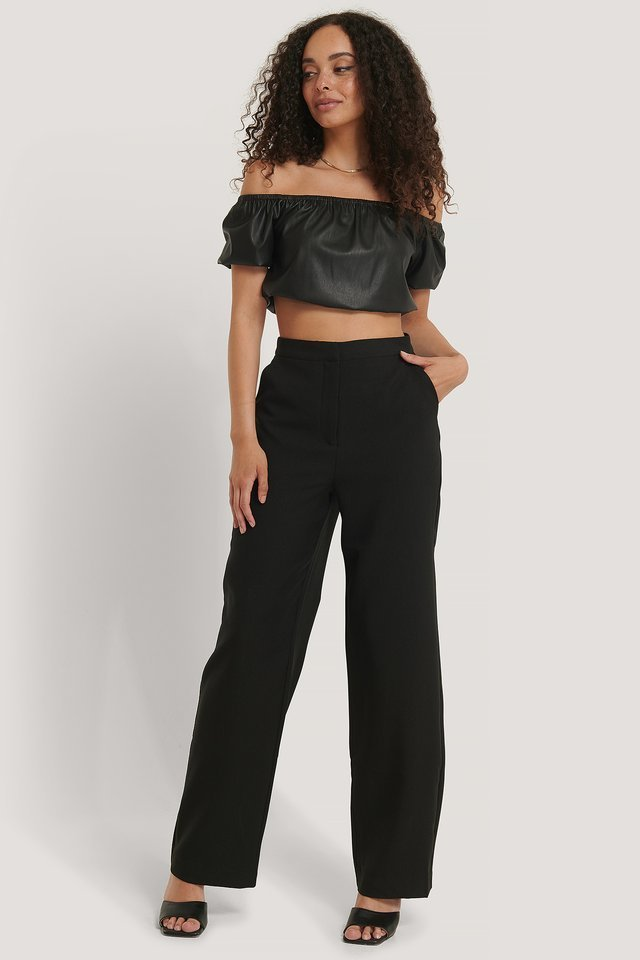 PU Puff Sleeve Cropped Top