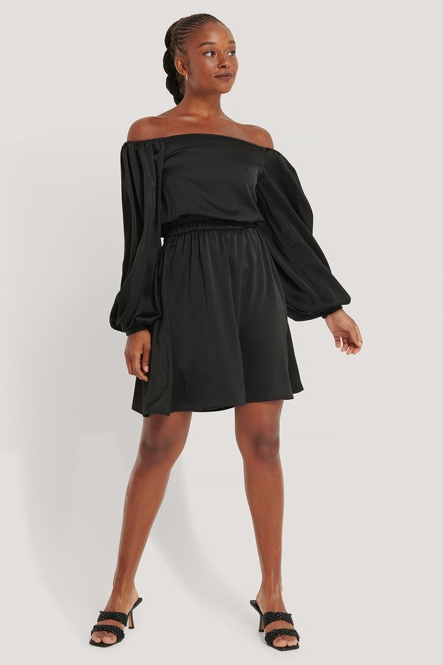 Off Shoulder Balloon Sleeve Satin Dress Outfit