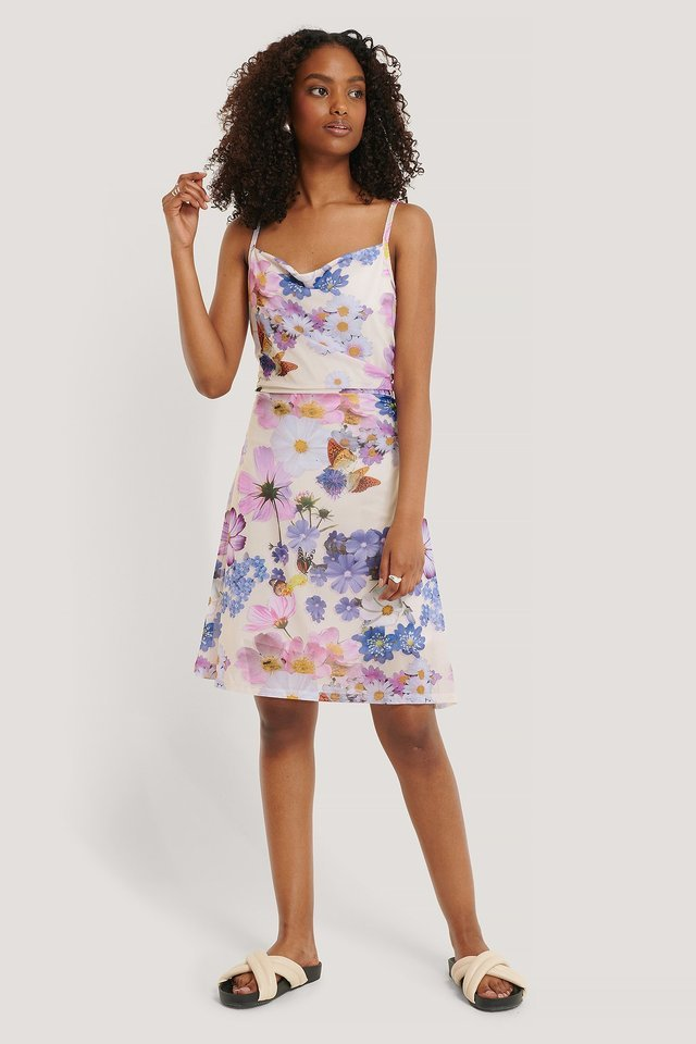 AT MINI DRESS FLOWER PATTERNED