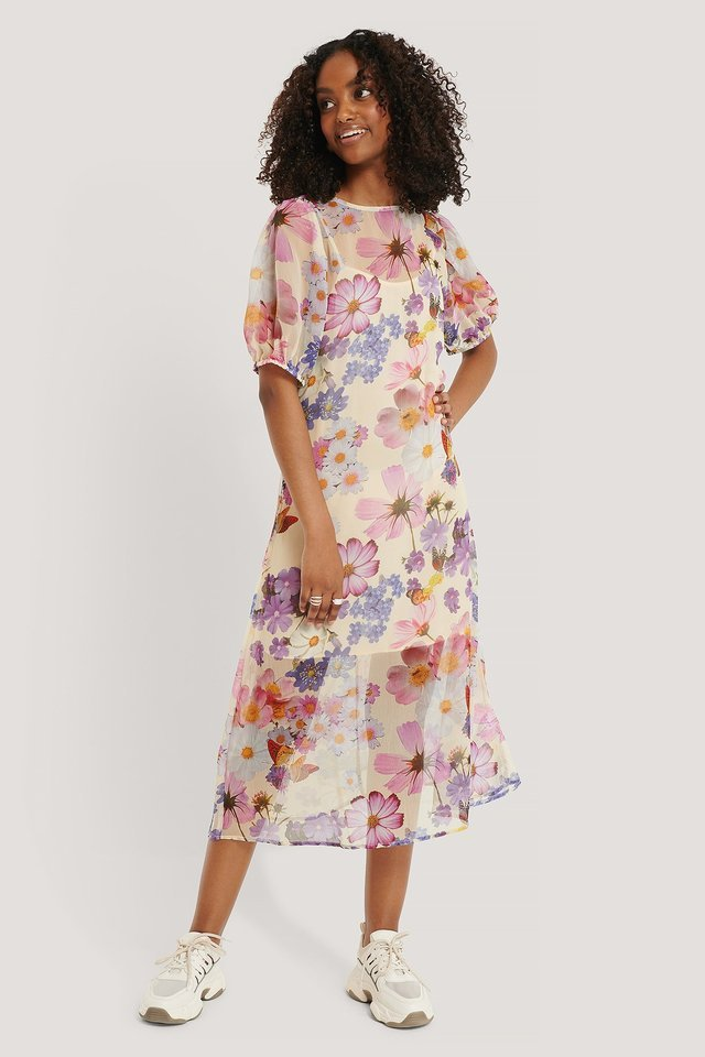 SHORT SLEEVE FLOWER PATTERNED CHIFFON DRESS