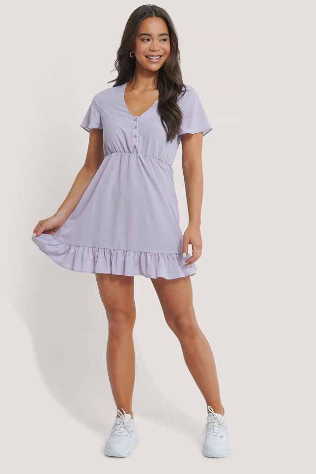 PURPLE FRILL DETAILED MINI DRESS